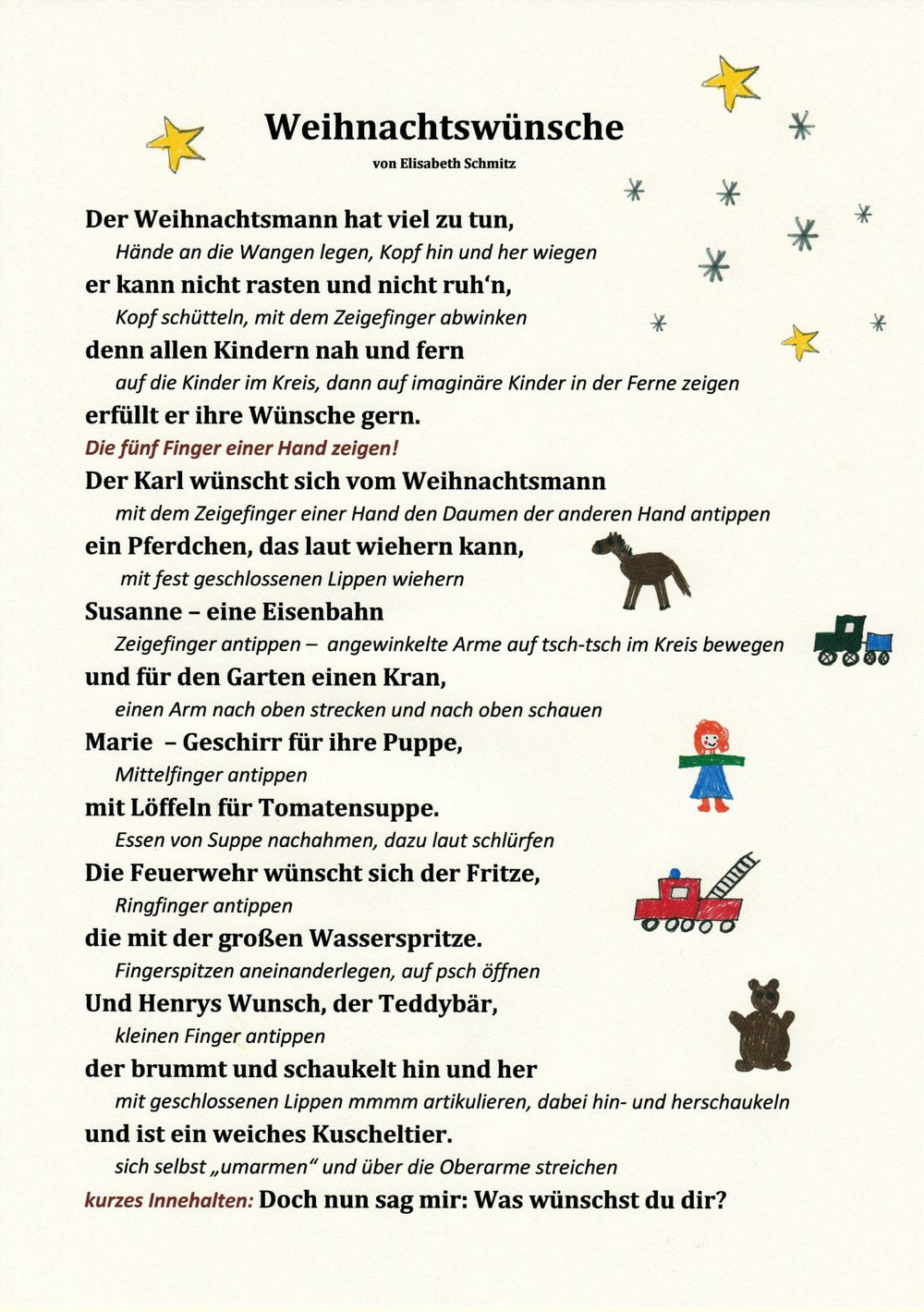 ein weihnachtsgedicht mit bewegungen